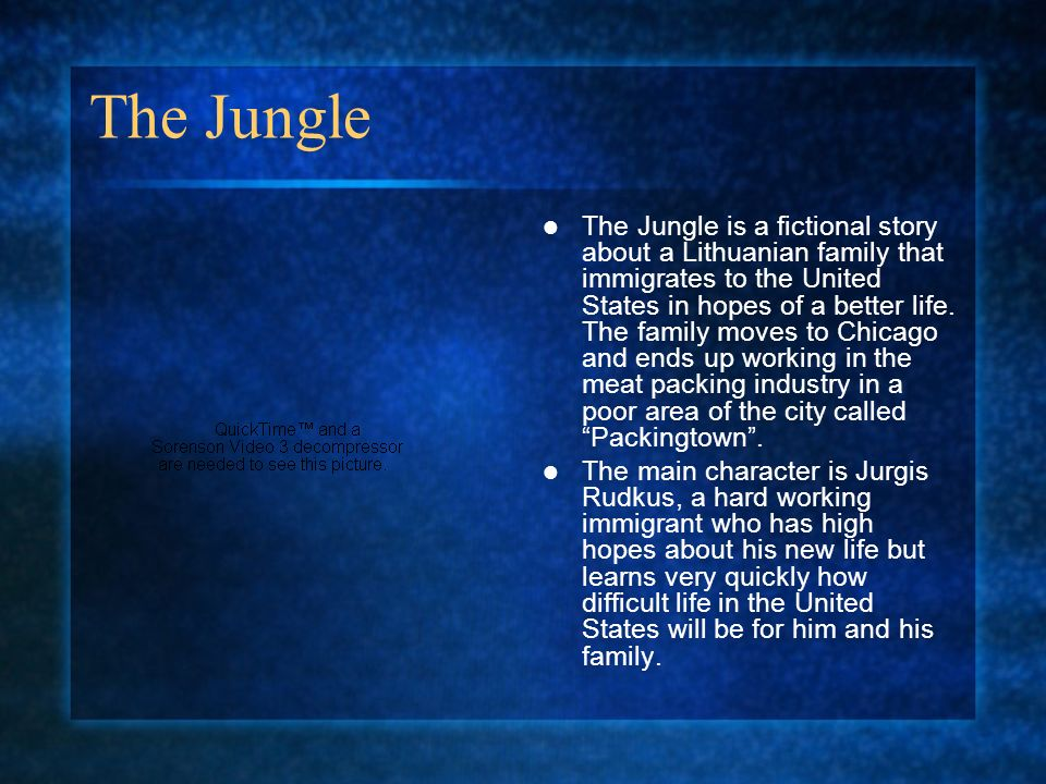 The Jungle The Jungle is a fictional story about a Lithuanian family that immigrates to the United States in hopes of a better life.
