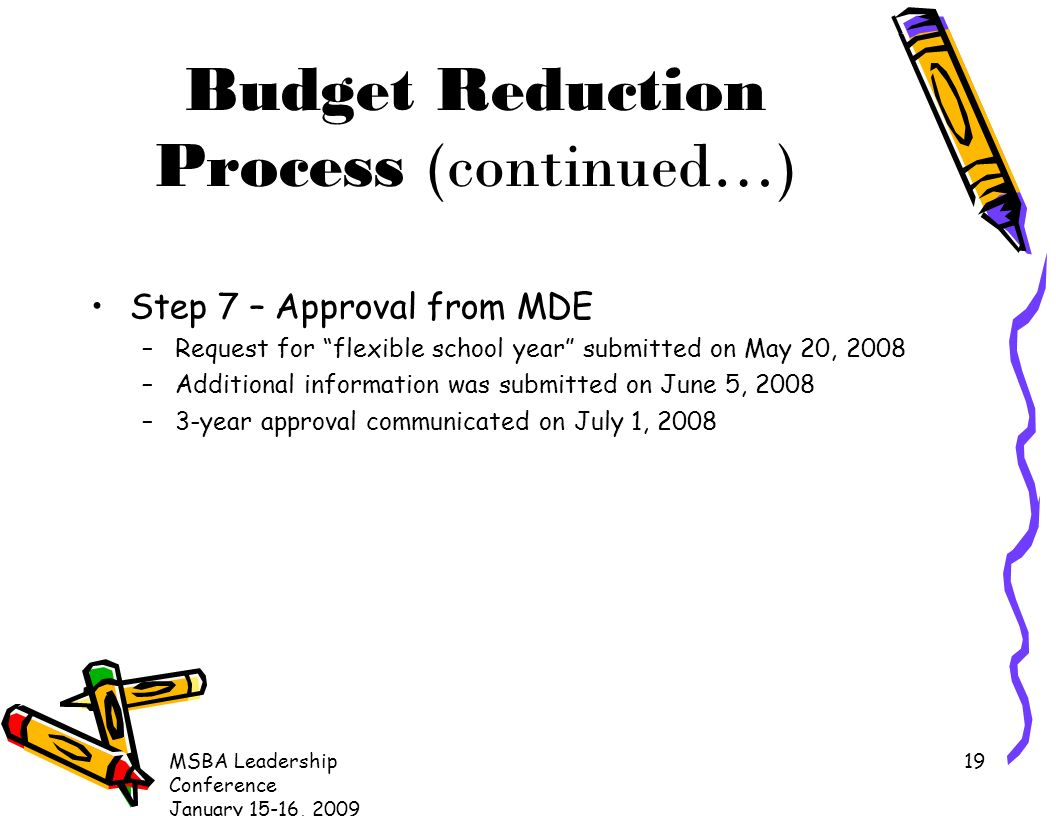 MSBA Leadership Conference January 15-16, Budget Reduction Process (continued…) Step 7 – Approval from MDE –Request for flexible school year submitted on May 20, 2008 –Additional information was submitted on June 5, 2008 –3-year approval communicated on July 1, 2008