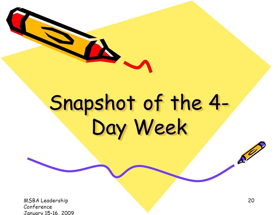 MSBA Leadership Conference January 15-16, Snapshot of the 4- Day Week