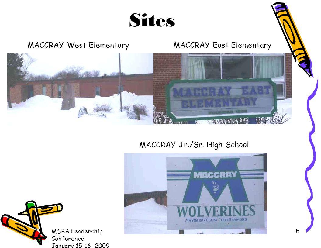 MSBA Leadership Conference January 15-16, 2009 5 Sites MACCRAY East ElementaryMACCRAY West Elementary MACCRAY Jr./Sr. High School