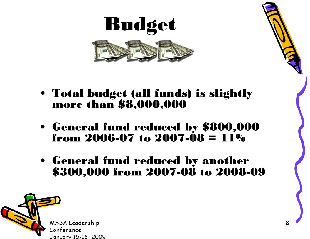 MSBA Leadership Conference January 15-16, Budget Total budget (all funds) is slightly more than $8,000,000 General fund reduced by $800,000 from to = 11% General fund reduced by another $300,000 from to