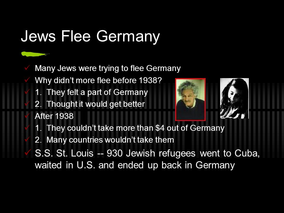 Jews Flee Germany Many Jews were trying to flee Germany Why didnt more flee before 1938? 1. They felt a part of Germany 2. Thought it would get better