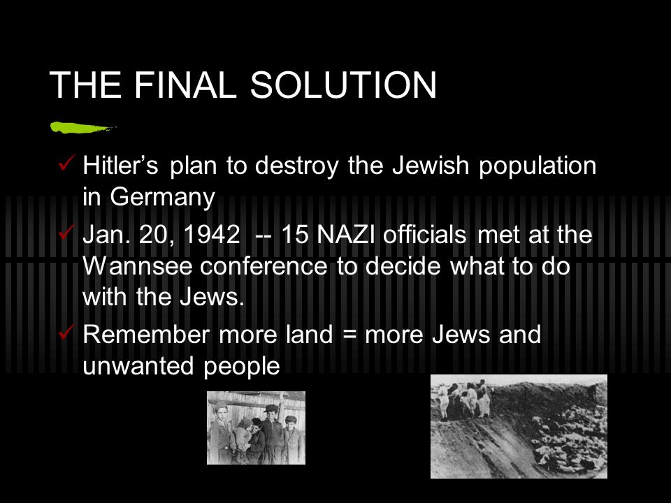 THE FINAL SOLUTION Hitlers plan to destroy the Jewish population in Germany Jan. 20, 1942 -- 15 NAZI officials met at the Wannsee conference to decide