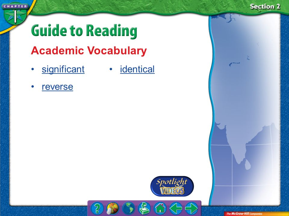 Section 2-Key Terms Academic Vocabulary significant reverse identical