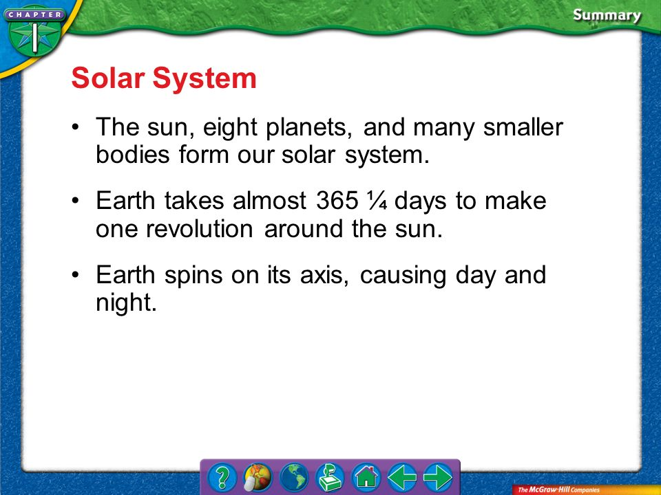 VS 4 Solar System The sun, eight planets, and many smaller bodies form our solar system. Earth takes almost 365 ¼ days to make one revolution around t