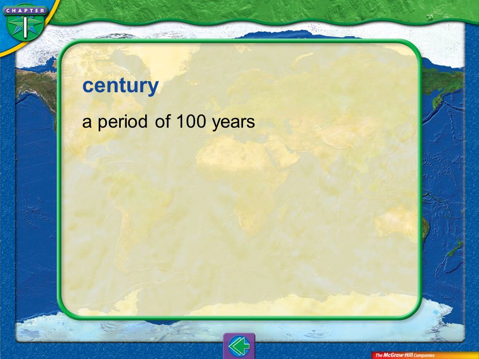 Vocab6 century a period of 100 years