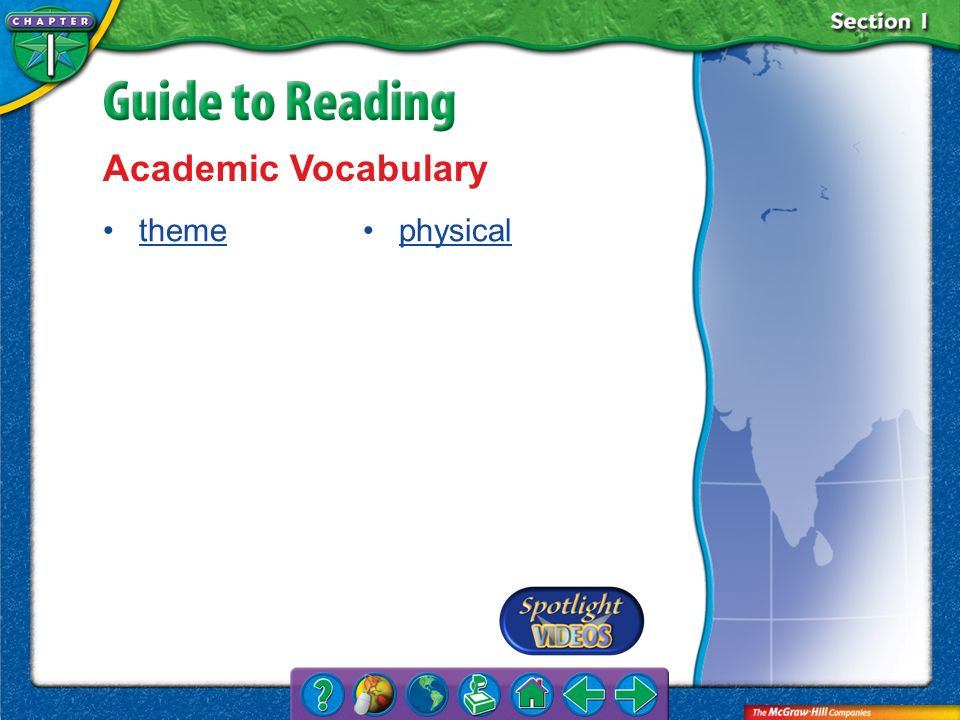 Section 1-Key Terms Academic Vocabulary theme physical