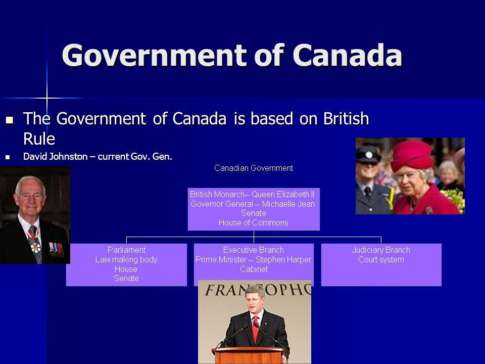 Government of Canada The Government of Canada is based on British Rule The Government of Canada is based on British Rule David Johnston – current Gov.