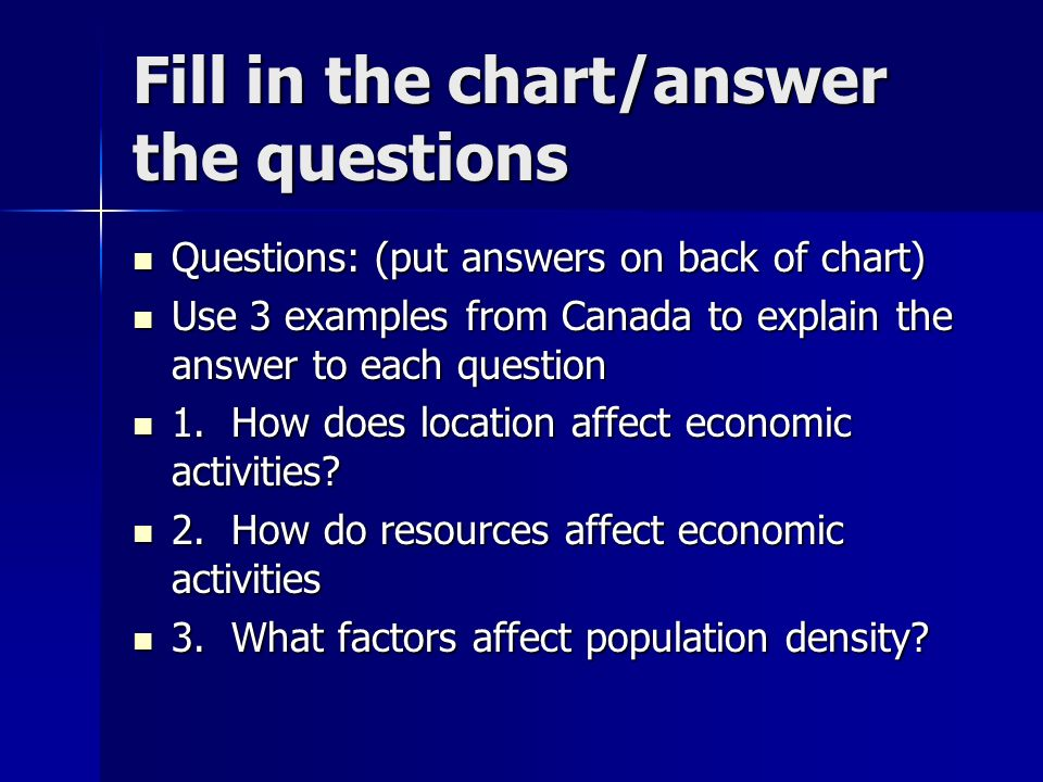 Fill in the chart/answer the questions Questions: (put answers on back of chart) Questions: (put answers on back of chart) Use 3 examples from Canada