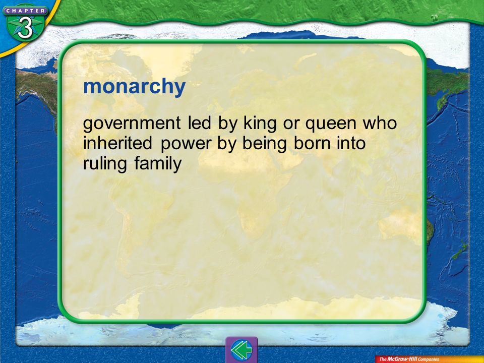 Vocab15 monarchy government led by king or queen who inherited power by being born into ruling family