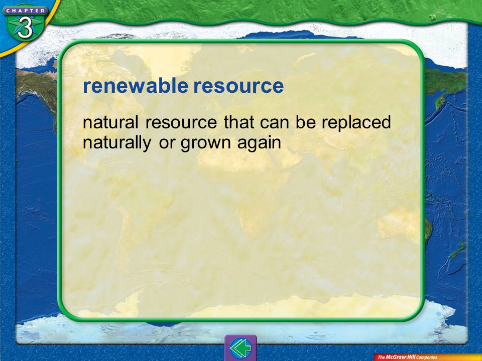 Vocab23 renewable resource natural resource that can be replaced naturally or grown again