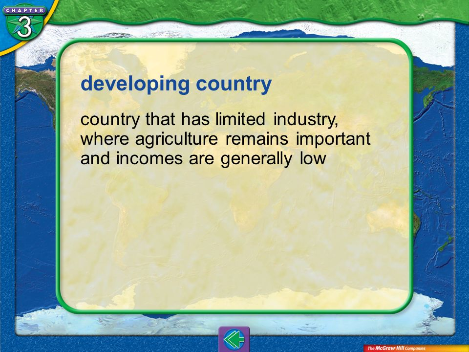 Vocab27 developing country country that has limited industry, where agriculture remains important and incomes are generally low