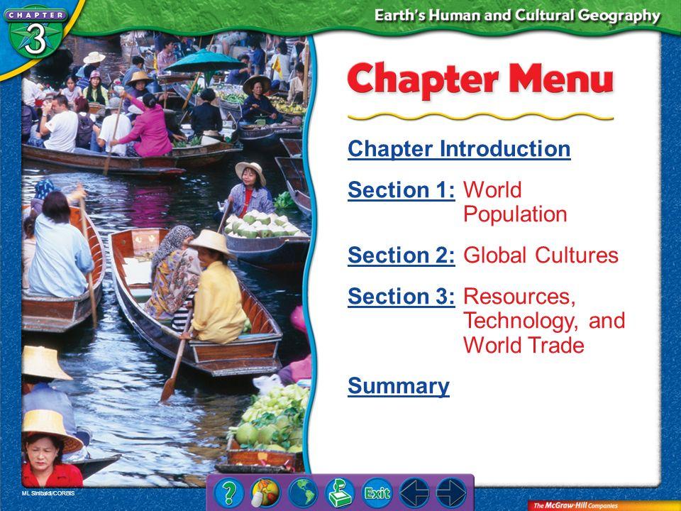 ML Sinibaldi/CORBIS Chapter Menu Chapter Introduction Section 1:Section 1:World Population Section 2:Section 2:Global Cultures Section 3:Section 3:Res