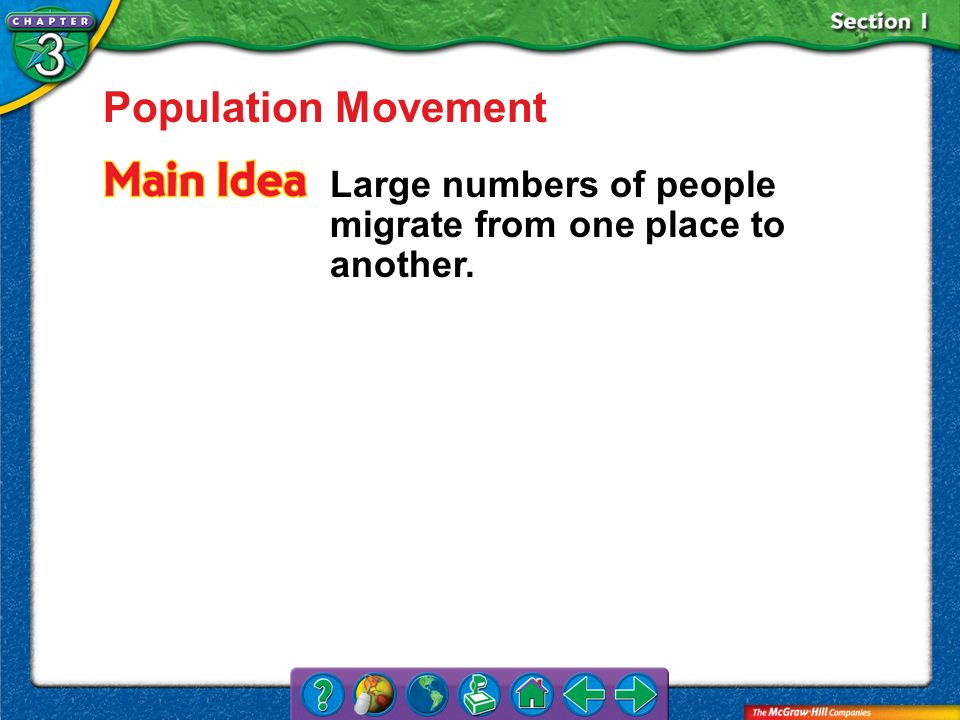 Section 1 Population Movement Large numbers of people migrate from one place to another.