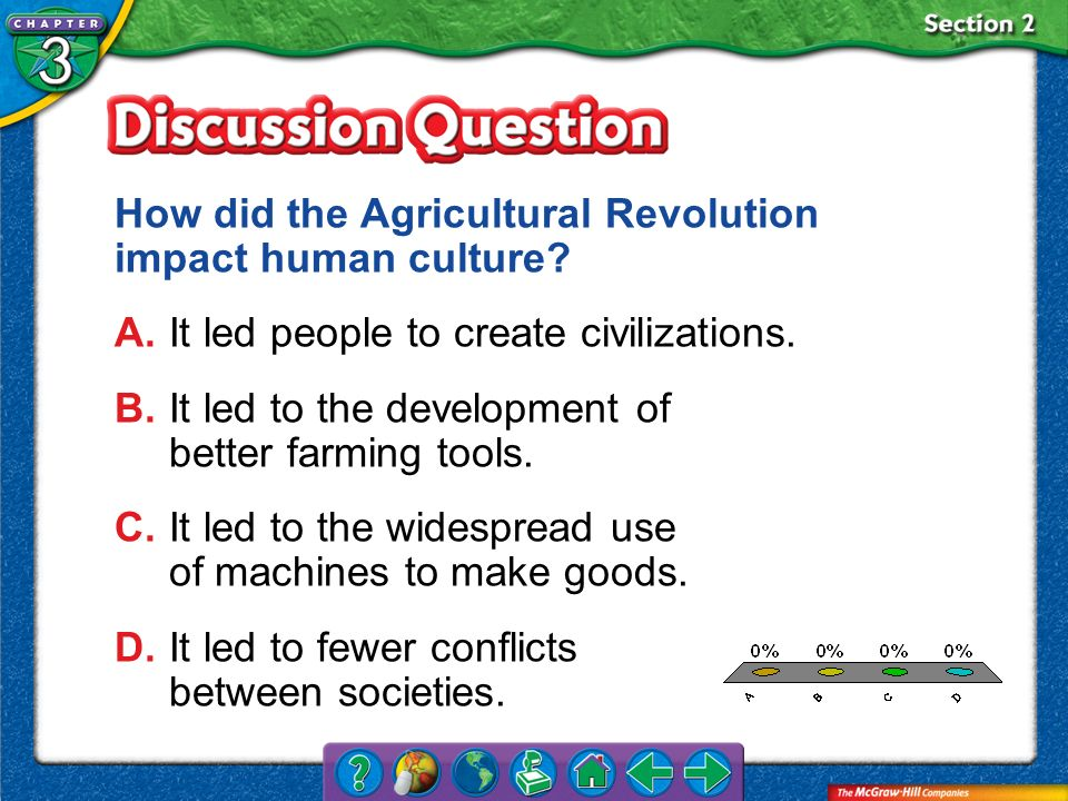 A.A B.B C.C D.D Section 2 How did the Agricultural Revolution impact human culture? A.It led people to create civilizations. B.It led to the developme