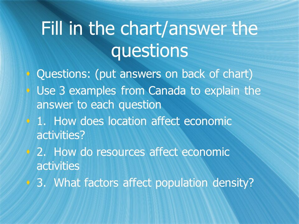 Fill in the chart/answer the questions Questions: (put answers on back of chart) Use 3 examples from Canada to explain the answer to each question 1.