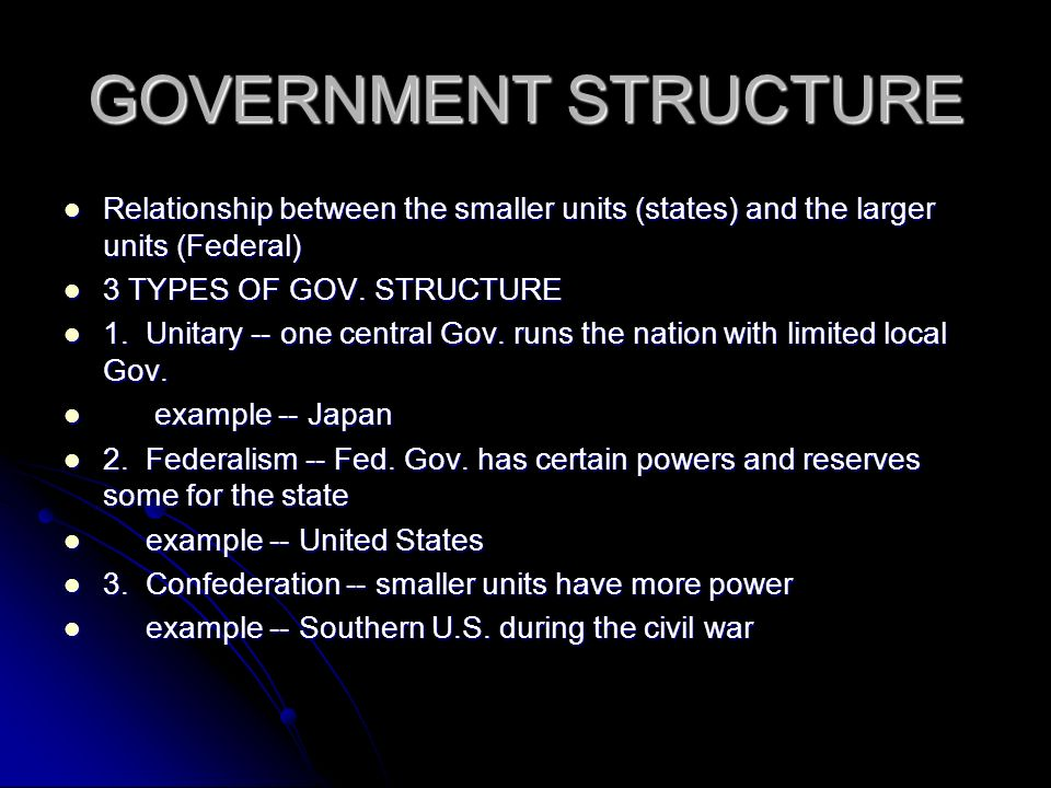 GOVERNMENT STRUCTURE Relationship between the smaller units (states) and the larger units (Federal) Relationship between the smaller units (states) an