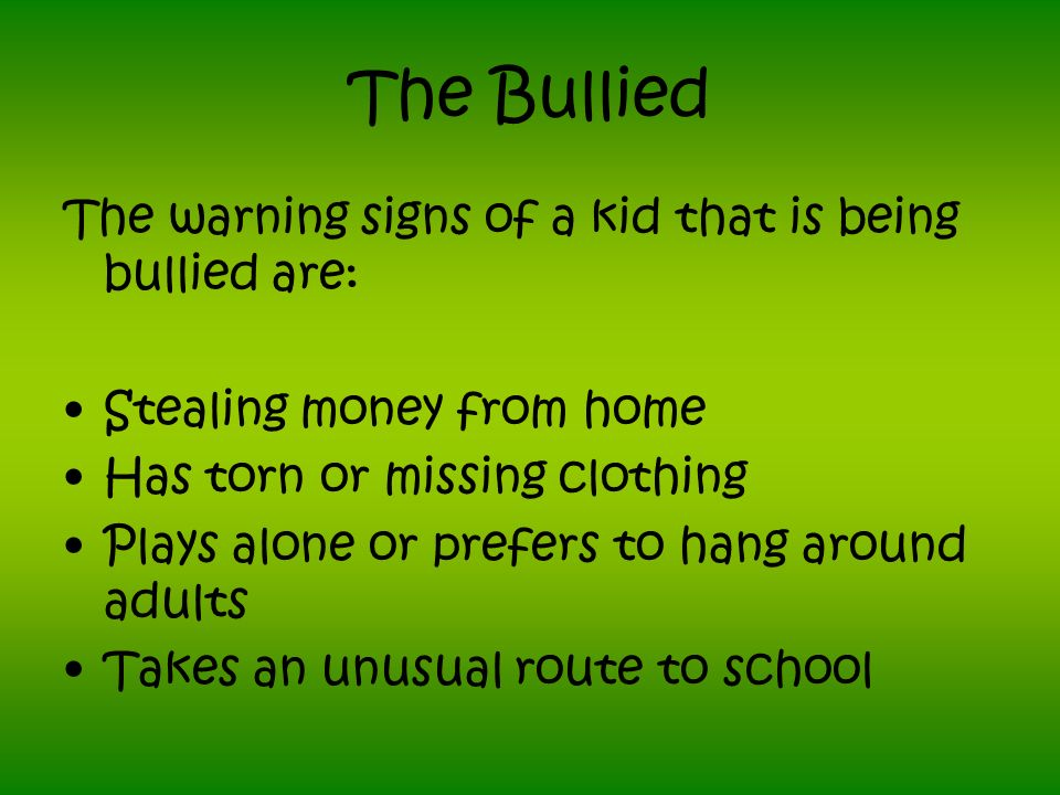 Why Kids Dont Tell They are ashamed of being bullied They dont think anyone can or will help They have learned that ratting on a peer is not cool They are afraid of retaliation