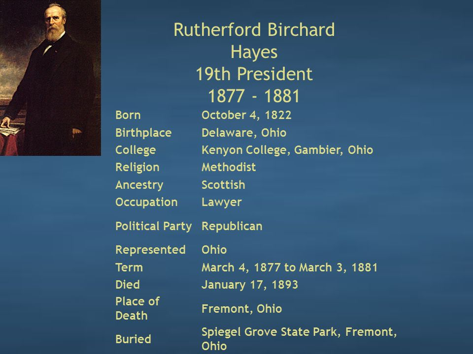 Rutherford Birchard Hayes 19th President 1877 - 1881 BornOctober 4, 1822 BirthplaceDelaware, Ohio CollegeKenyon College, Gambier, Ohio ReligionMethodist AncestryScottish OccupationLawyer Political PartyRepublican RepresentedOhio TermMarch 4, 1877 to March 3, 1881 DiedJanuary 17, 1893 Place of Death Fremont, Ohio Buried Spiegel Grove State Park, Fremont, Ohio