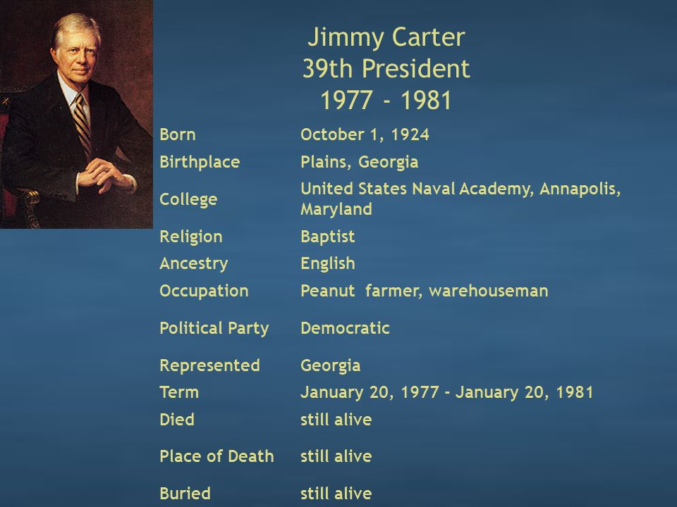 Jimmy Carter 39th President 1977 - 1981 BornOctober 1, 1924 BirthplacePlains, Georgia College United States Naval Academy, Annapolis, Maryland ReligionBaptist AncestryEnglish OccupationPeanut farmer, warehouseman Political PartyDemocratic RepresentedGeorgia TermJanuary 20, 1977 - January 20, 1981 Diedstill alive Place of Deathstill alive Buriedstill alive
