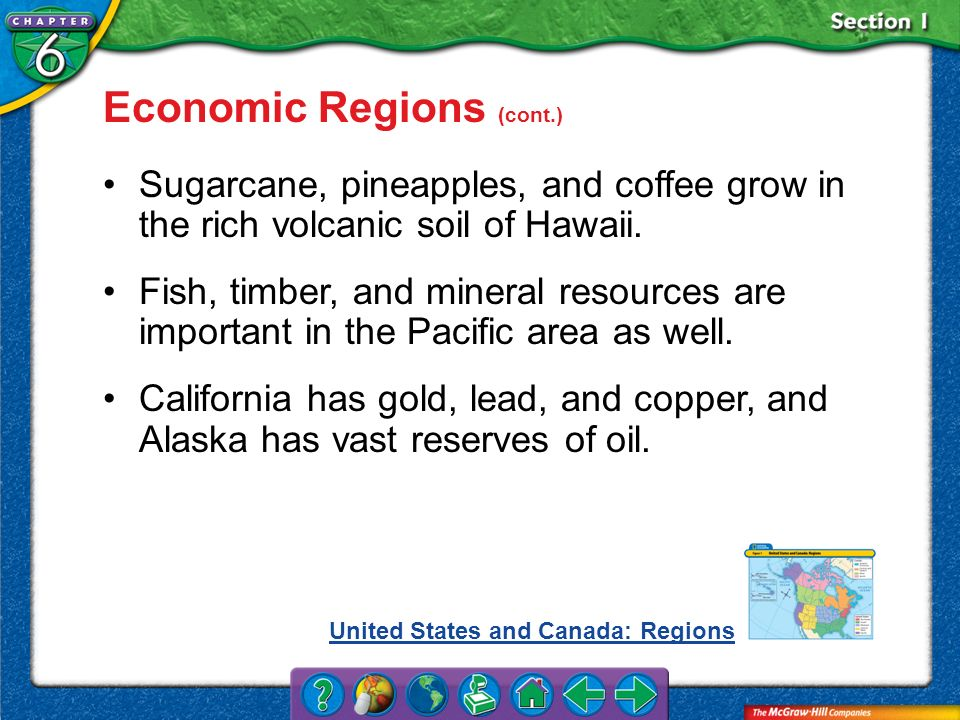 Section 1 Economic Regions (cont.) Sugarcane, pineapples, and coffee grow in the rich volcanic soil of Hawaii. Fish, timber, and mineral resources are