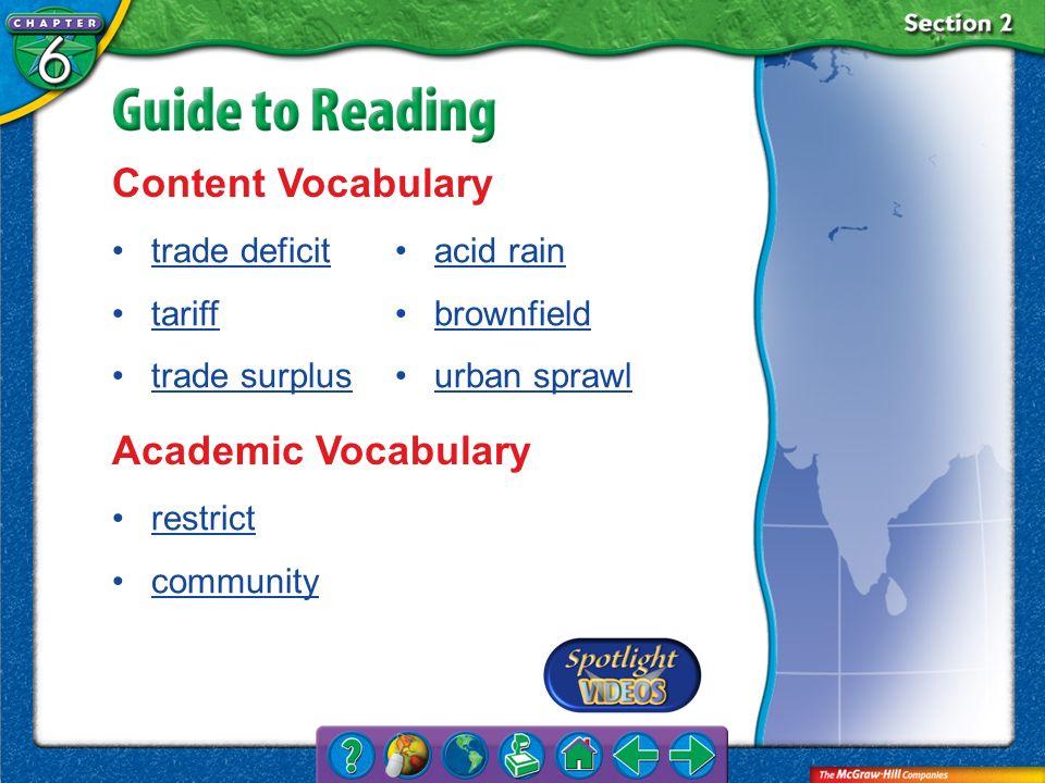 Section 2-Key Terms Content Vocabulary trade deficit tariff trade surplus acid rain brownfield urban sprawl Academic Vocabulary restrict community