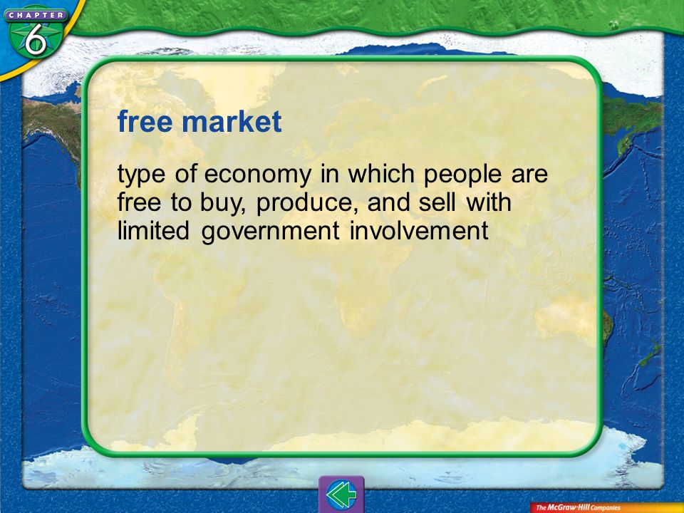 Vocab1 free market type of economy in which people are free to buy, produce, and sell with limited government involvement