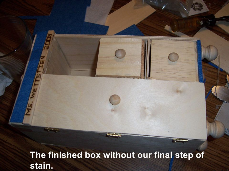 The finished box without our final step of stain.