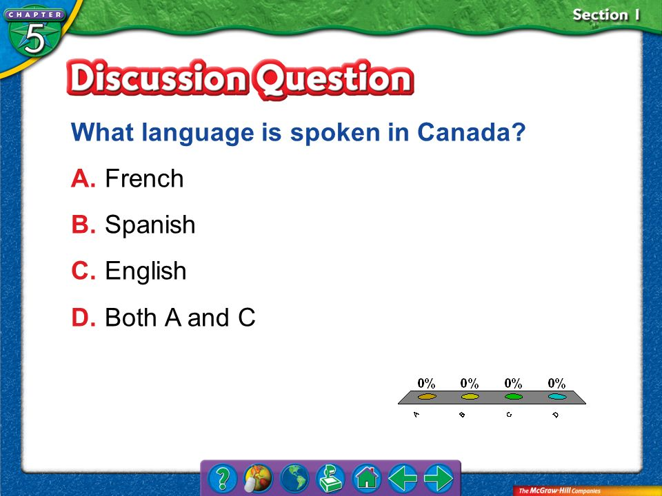 A.A B.B C.C D.D Section 1 What language is spoken in Canada? A.French B.Spanish C.English D.Both A and C