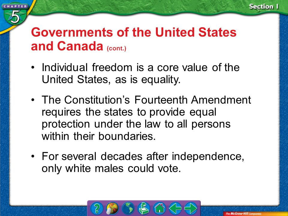 Section 1 Governments of the United States and Canada (cont.) Individual freedom is a core value of the United States, as is equality. The Constitutio
