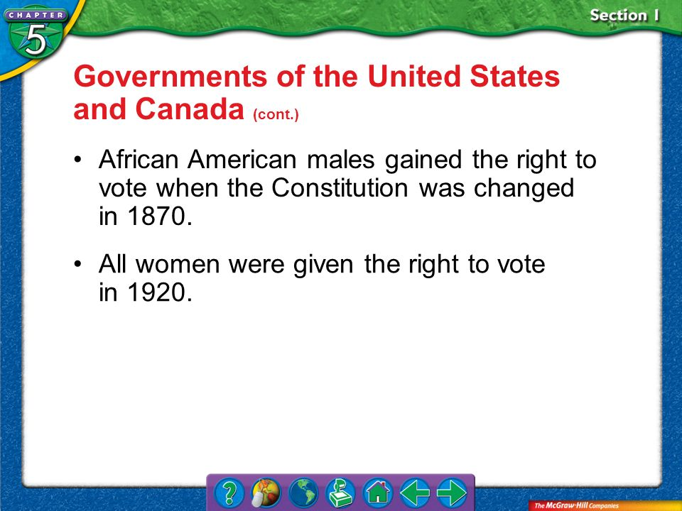 Section 1 Governments of the United States and Canada (cont.) African American males gained the right to vote when the Constitution was changed in 187