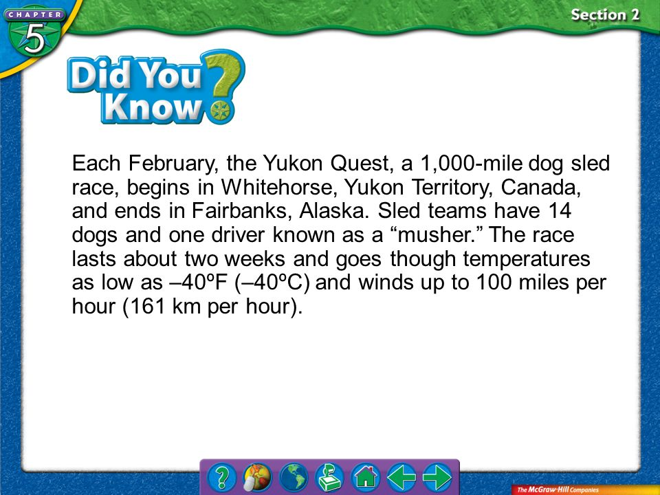 Section 2 Each February, the Yukon Quest, a 1,000-mile dog sled race, begins in Whitehorse, Yukon Territory, Canada, and ends in Fairbanks, Alaska. Sl