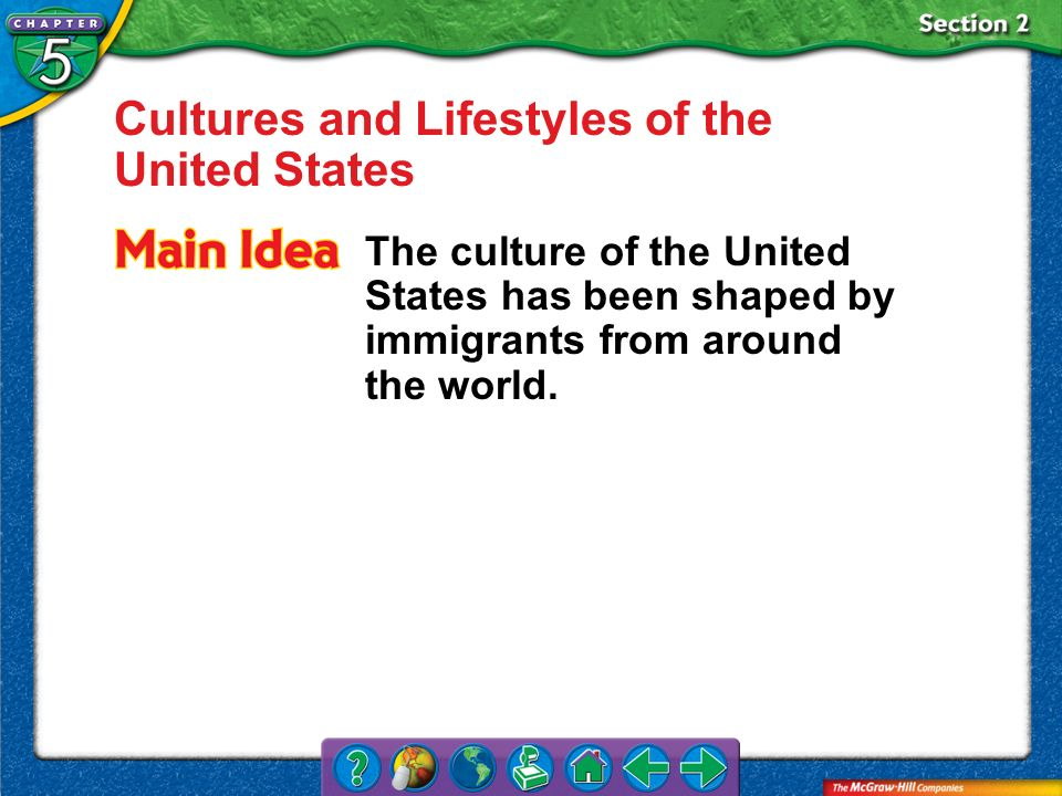 Section 2 Cultures and Lifestyles of the United States The culture of the United States has been shaped by immigrants from around the world.