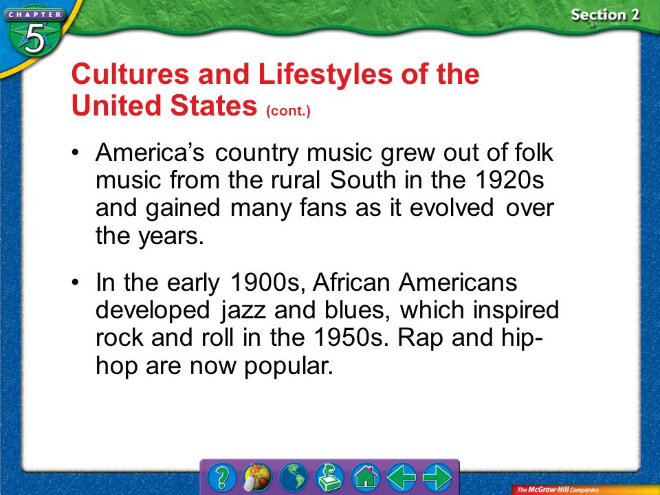 Section 2 Cultures and Lifestyles of the United States (cont.) Americas country music grew out of folk music from the rural South in the 1920s and gai