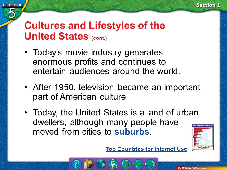 Section 2 Cultures and Lifestyles of the United States (cont.) Todays movie industry generates enormous profits and continues to entertain audiences a