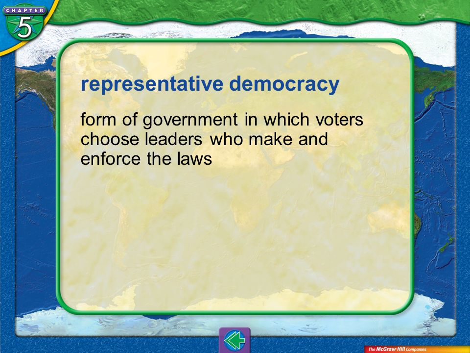 Vocab5 representative democracy form of government in which voters choose leaders who make and enforce the laws