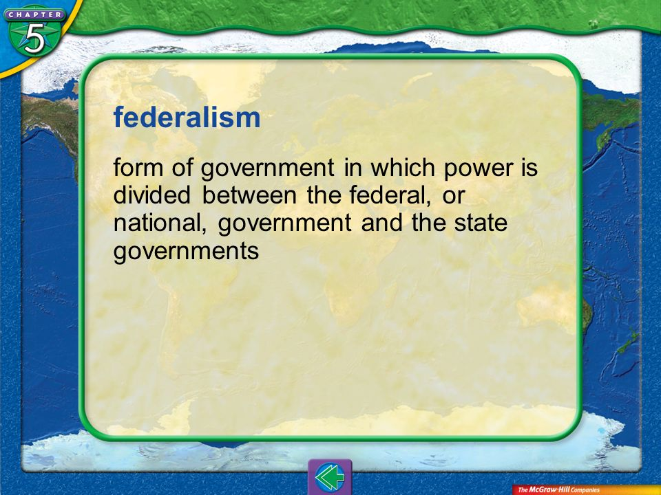Vocab6 federalism form of government in which power is divided between the federal, or national, government and the state governments