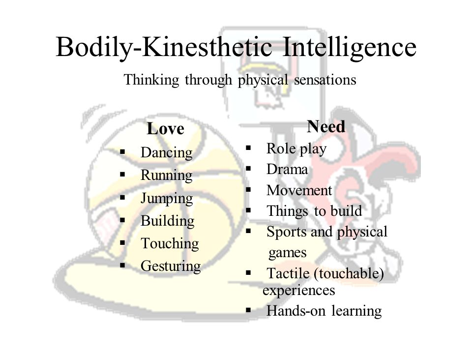What is Bodily-Kinesthetic Intelligence? It is expertise in using ones whole body to express ideas and feelings. Examples: acting, dancing, sports, an