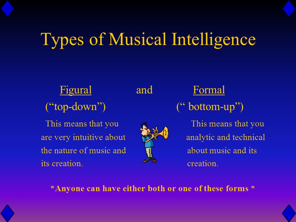 What is Musical Intelligence? Being musically intelligent means that you are able to distinguish the sounds around you and that you have the ability t