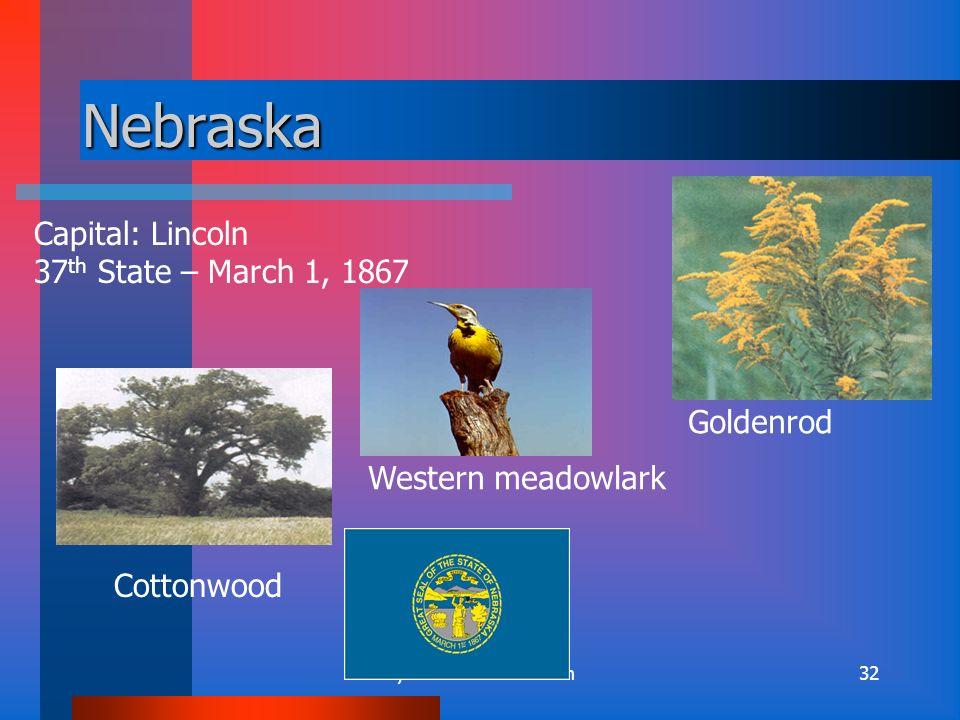 By: Kirsten Sidebottom31 Montana Capital: Helena 41 st State- November 8, 1889 Western meadowlark Ponderosa pine Bitterroot