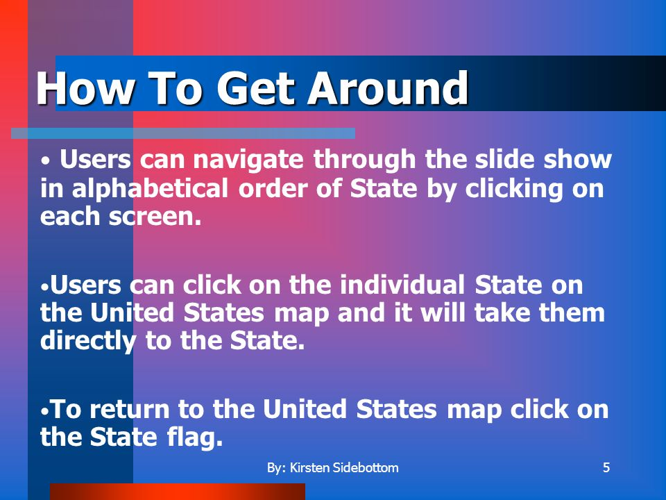 5 Users can navigate through the slide show in alphabetical order of State by clicking on each screen.