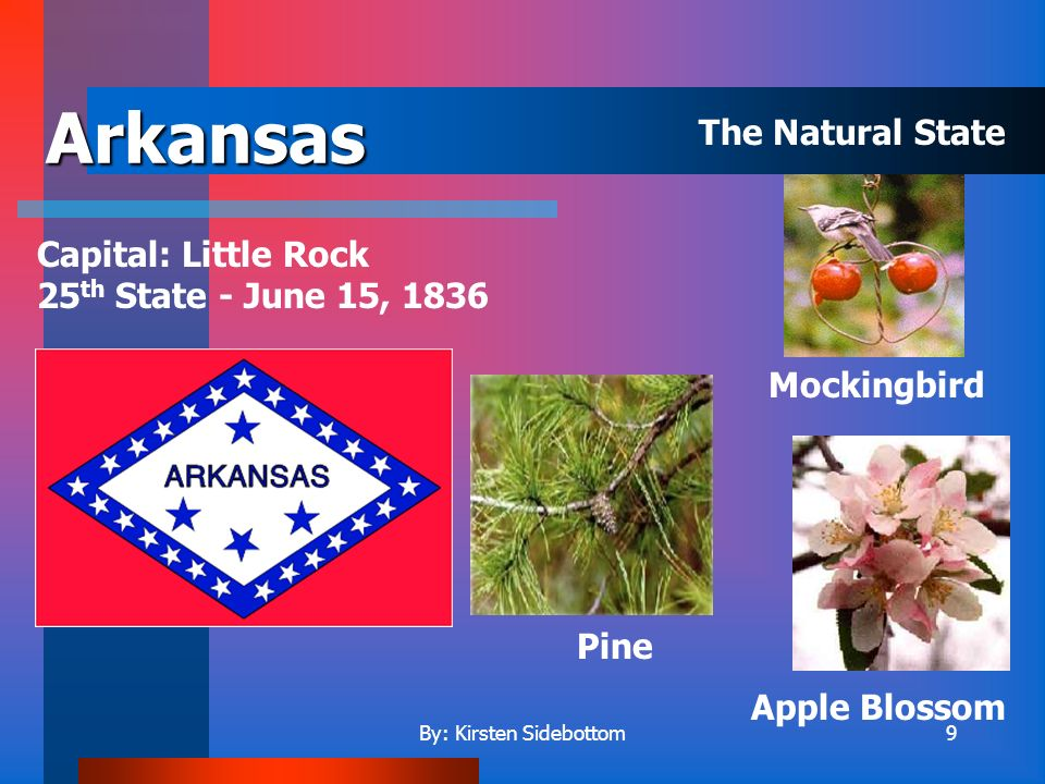 By: Kirsten Sidebottom9 Arkansas Capital: Little Rock 25 th State - June 15, 1836 Apple Blossom Mockingbird Pine The Natural State
