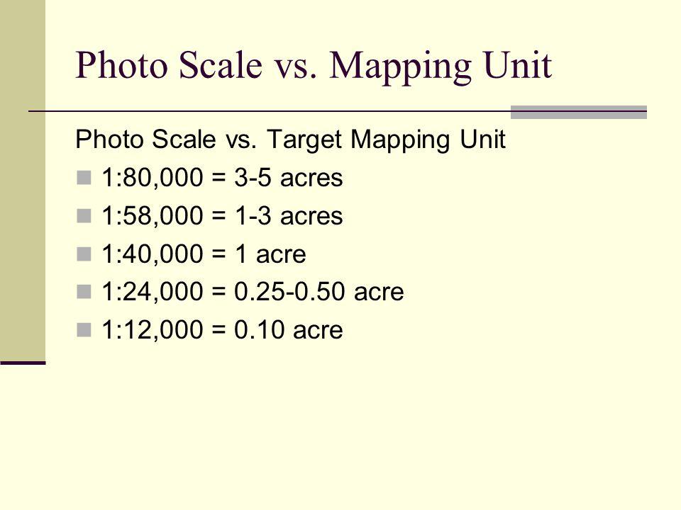 Photo Scale vs. Mapping Unit Photo Scale vs. Target Mapping Unit 1:80,000 = 3-5 acres 1:58,000 = 1-3 acres 1:40,000 = 1 acre 1:24,000 = 0.25-0.50 acre