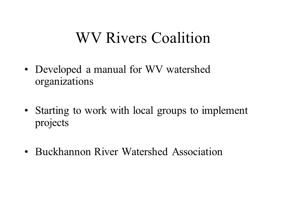 WV Department of Environmental Protection Division of Water and Waste Management Programs Involved in Wastewater Issues