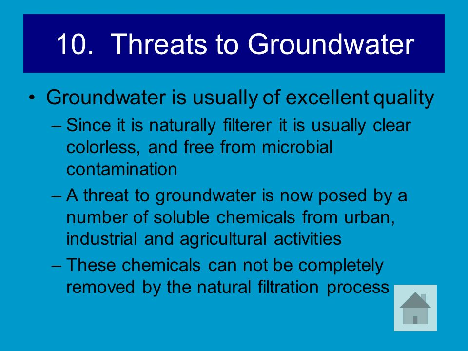 10. Threats to Groundwater Groundwater is usually of excellent quality –Since it is naturally filterer it is usually clear colorless, and free from mi