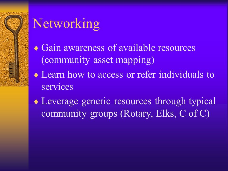 Networking Gain awareness of available resources (community asset mapping) Learn how to access or refer individuals to services Leverage generic resou