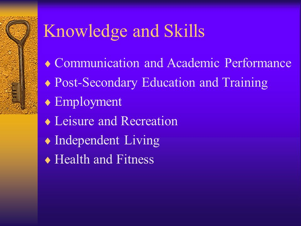 Knowledge and Skills Communication and Academic Performance Post-Secondary Education and Training Employment Leisure and Recreation Independent Living