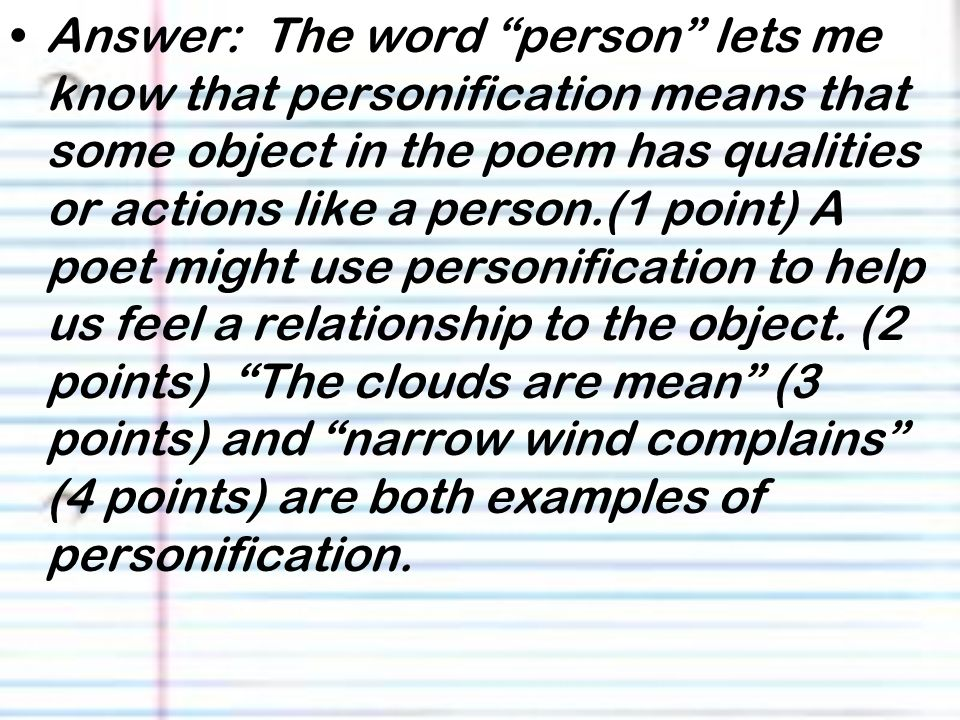 how to use personification in a poem
