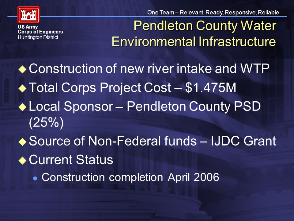 One Team – Relevant, Ready, Responsive, Reliable US Army Corps of Engineers Huntington District Pendleton County Water Environmental Infrastructure Construction of new river intake and WTP Total Corps Project Cost – $1.475M Local Sponsor – Pendleton County PSD (25%) Source of Non-Federal funds – IJDC Grant Current Status Construction completion April 2006