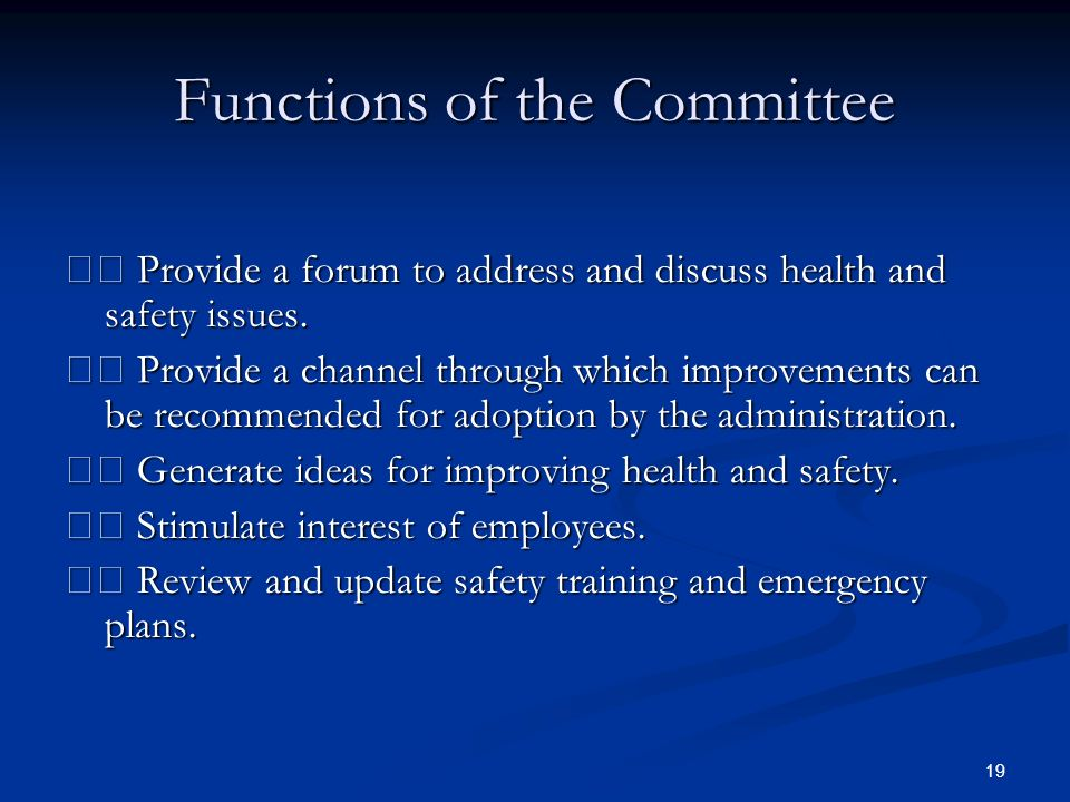 19 Functions of the Committee Provide a forum to address and discuss health and safety issues.